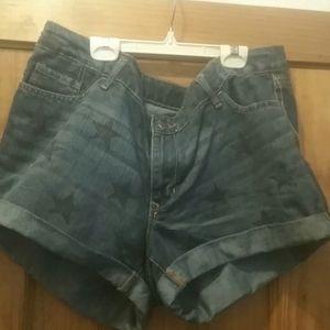 Denim star print shorts